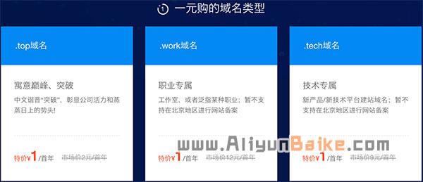 阿里云新用户域名优惠1元购
