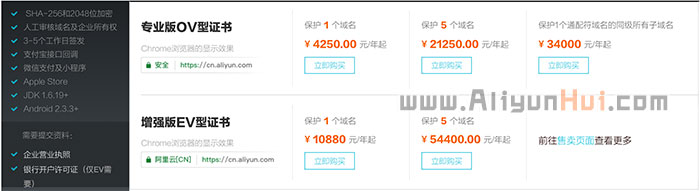 阿里云Symantec赛门铁克 SSL证书价格