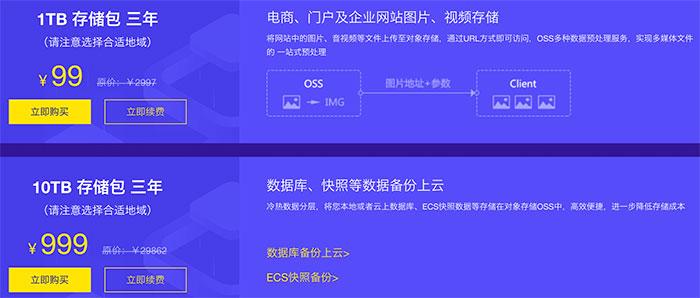 阿里云OSS对象存储1TB存储包99元3年10TB存储包999元3年