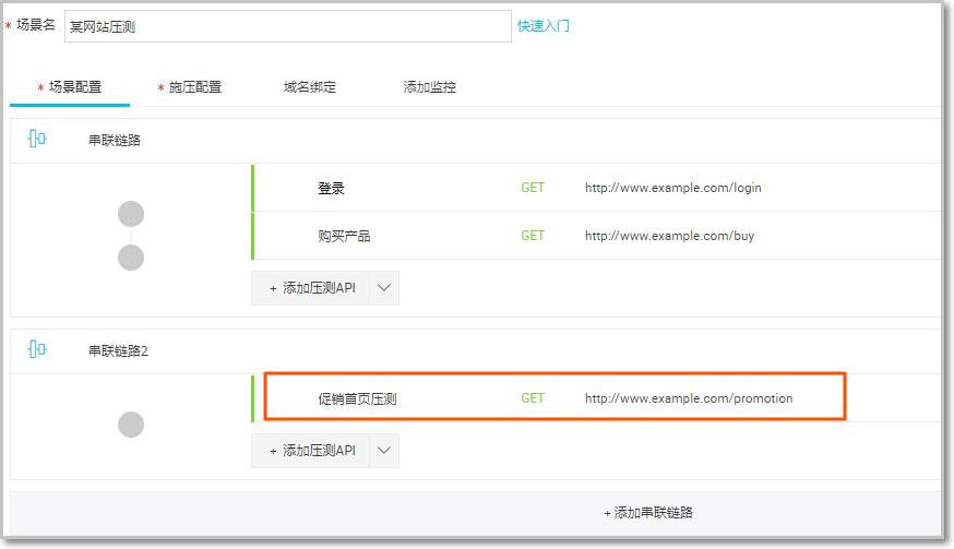 串联链路2添加压测API