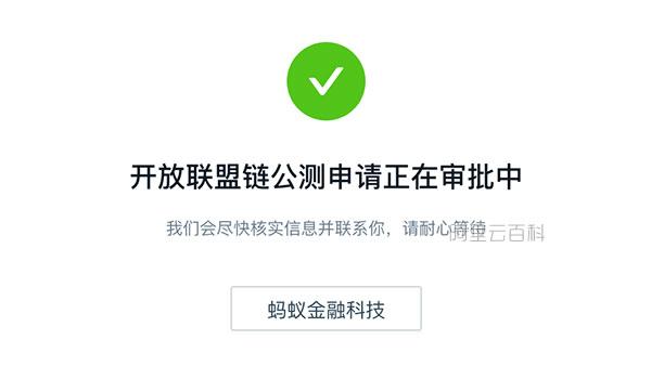 开放联盟链公测申请正在审批中