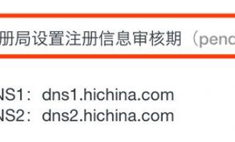 注册局设置注册信息审核期(pendingVerification)域名状态说明