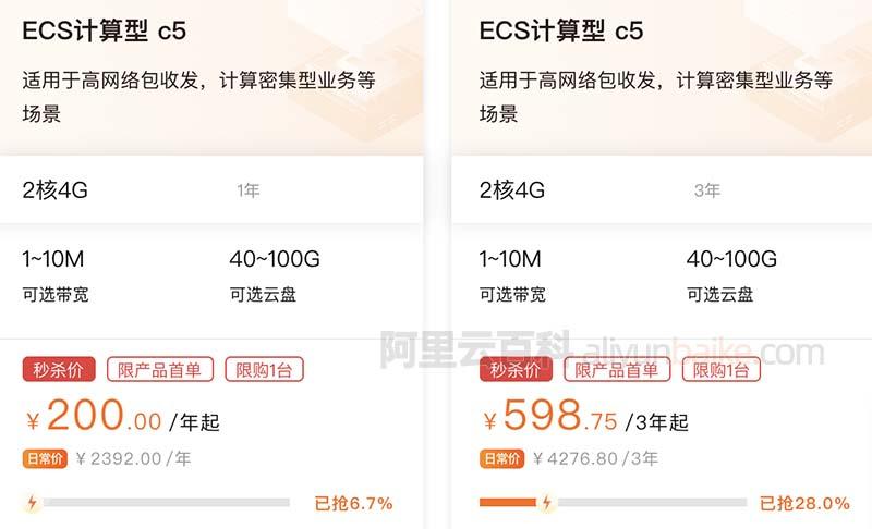 阿里云2核4G服务器ECS计算型c5实例